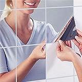 割れない鏡 ミラー ウォール ステッカー (15cmx9枚)( 安心 安全 シールタイプ 壁紙 フィルム スペースミラー )