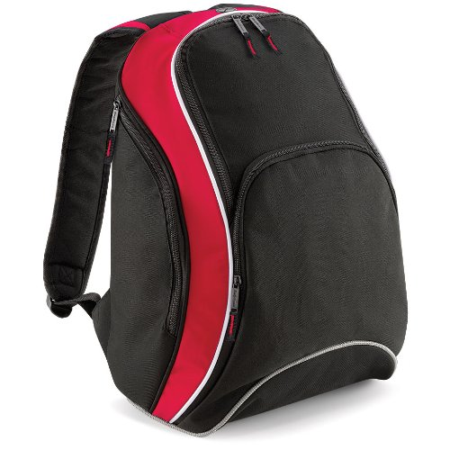base Bag as a College Student BACKPACK Student sport Leisure BG571 TEAMWEAR BACKPACK-Black, Red and White - 21 L Unisex Men's/Women's