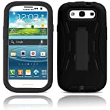 Galaxy S3 Case, MagicMobile® Premium Heavy Duty Hybrid Shockproof Armor Cover Black Silicone Layer and Black Hard Plastic Shell with Kickstand