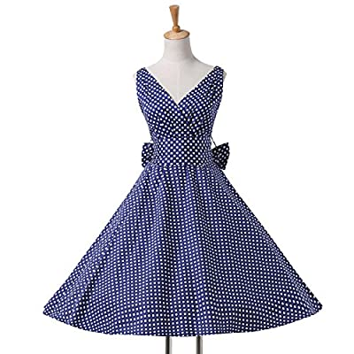 Belle Poque Womens 1950's Vintage Polka Dots Swing Party Dress with V-Neck