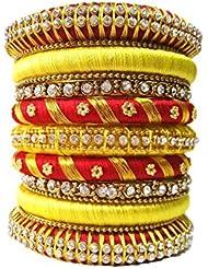 Ovis Creations Yellow Silk Thread Bangle Set For Women