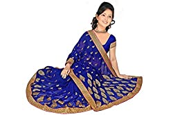 Indian Fashionista Exclusive Branded Silk Saree with Chiffon Material Work and Unstiched Blouse Piece.
