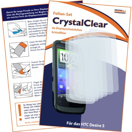 6 x mumbi Displayschutzfolie HTC Desire S Displayschutz