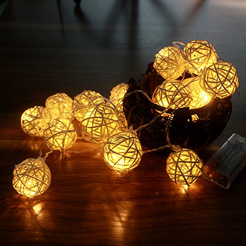 Globe Rattan Ball String Lights, Goodia 2.2M 4cm 20 LED Warm White Curtain Light for Indoor ...