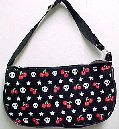 Rockabilly Skulls Stars & Cherries Handbag Purse