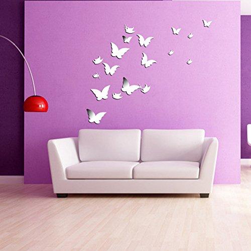 Wuiyepo 20pcs papillon miroir 3d stickers muraux bricolage - Miroir decoratif a coller ...