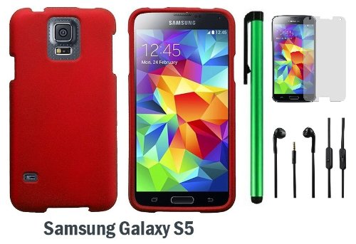Samsung Galaxy S5 Premium Design Protector Hard Cover Case (2014 March Released; Carrier: Verizon, At&T, T-Mobile, Sprint) + Screen Protector Film + 3.5Mm Stereo Earphones + 1 Of New Assorted Color Metal Stylus Touch Screen Pen (Red)