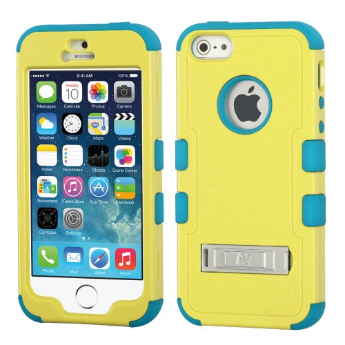 Iphone 5S/5 Case - Nagebee - Design Premium Heavy Duty Defender Hybrid Phone Cover Case With Metal Stand For Iphone 5S/5 + {Lcd Screen Protector Shield(Ultra Clear) + Touch Screen Stylus} (Hybrid Stand Natural Baby Yellow/Tropical Teal)