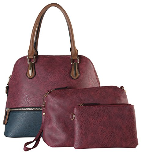 diophy-fashion-two-tone-bowling-satchel-bag-3-piece-set-se-3390-wine