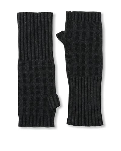 Qi Cashmere Women's Waffle Fingerless Cashmere Gloves, Charcoal Heather/Black As You See