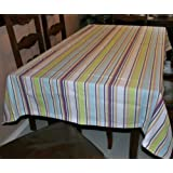 Homescapes - Osaka Green Stripe - 54 x 54 Inches - Square Tablecloth - Green, Blue, White, Wine Stripes - 100% Cotton, Washable at 60 Deg Cby Homescapes