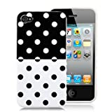 Black and White Polka Dot Split Pattern Soft Case For Apple iPhone 4S / 4 (AT&T, Verizon, Sprint)