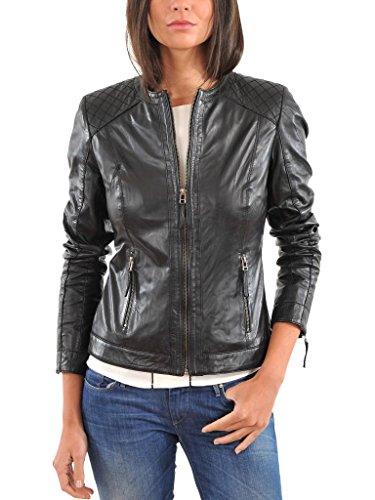 Leather4u Women's Lambskin Leather jacket LL808 M Black