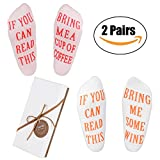 """Funny Gifts Wine Socks with Gift Box-""""If You Can Read This Bring Me Some Wine"""" Luxury Combed Socks for Women-Perfect Novelty Gift for Wine Lovers,Valentines Day Gift,Birthdays,White Elephant(2 Pairs)"""
