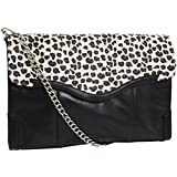 Rebecca Minkoff Natural Cheetah & Black Leather Large Convertible Clutch