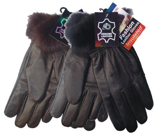 Ddi Ladies Leather Furry Gloves (Pack Of 72)