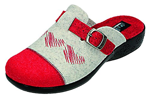 Fly Flot, Pantofole donna Rosso rot/komb., Rosso (rot/komb.), 38
