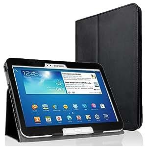 EasyAcc® Schutzhülle tasche für Samsung Galaxy Tab 3 10.1 P5200 Flip Case Book Cover Hüllen Ledertasche lederhülle mit Standfunktion / Auto Sleep - PU Leder, Schwarz, Slim