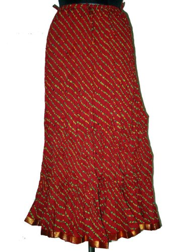 Skirt for Women Brick Red Cotton Crinkled Long Bohemian Skirt Indian Clothing Size 40 Inches Free Shipping
