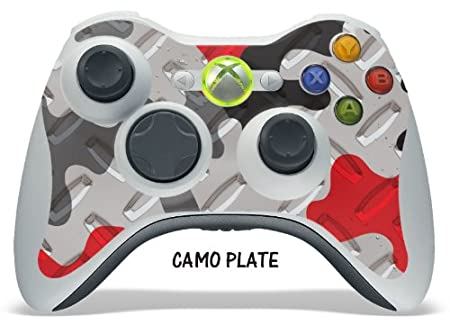 Designer decal for XBOX 360 Remote Controller - Camo Plate Red
