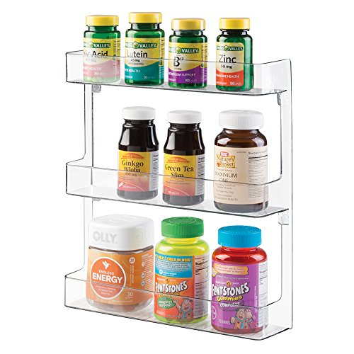 mDesign Storage Organizer for Vitamins, Supplements, Health Supplies - 3 Tier, Wall Mount, Clear (Plastic Shelves Medicine Cabinet compare prices)