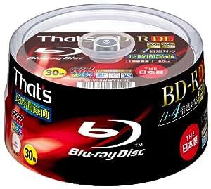 That's BD-R DL ビデオ用 1-4倍速360分50GB 片面2層 ハードコート仕様 ワイドプリンタブル スピンドルケース30枚入 BR-V50WWY30BC