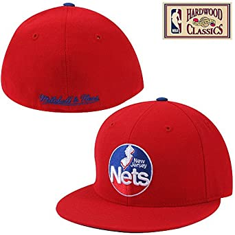 New Jersey Nets Red HWC Logo Fitted Hat Cap by Mitchell & Ness