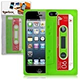 Tigerbox Flexible Silicone Retro Cassette Tape Style Skin Cover Case for Apple iPhone 5 With Screen Protector (Green)