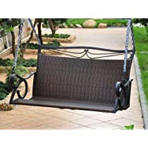 LISBON RESIN WICKER AND STEEL LOVESEAT SWING - PATIO FURNITURE