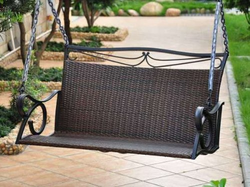 Lisbon Resin Wicker Patio Loveseat Porch Swing picture