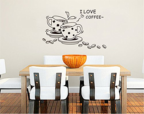 "Theme Decal (Tm) 100*60Cm ""I Love Coffee""English Quote Letters Wall Sticker Charm Coffee Cup Wall Decal Kitchen Restaurant Decor Love Cup Diy Mural"