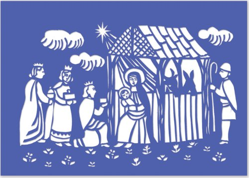 Woodcut Manger Laser Cut Holiday Cards (Christmas Cards, Holiday Cards, Greeting Cards)