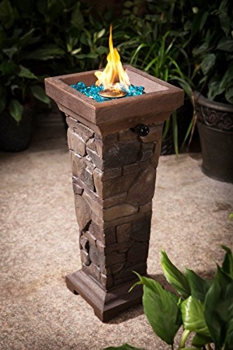 5168GltBubL - BEST BUY #1 Cobble Stone Gas Fire Pit Column and Outdoor Patio Heater