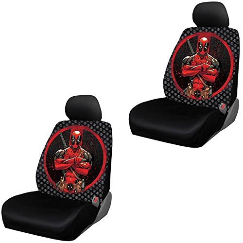 Deadpool-Repeater-Pattern-Logo-Marvel-Comics-Auto-Car-Truck-SUV-Vehicle-Low-Back-Front-Bucket-Seat-Cover-PAIR-by-LA-Auto-Gear