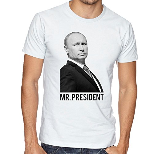 Mr. President Vladimir Putin Russia Awesome Mens Uomo Man White T-shirt
