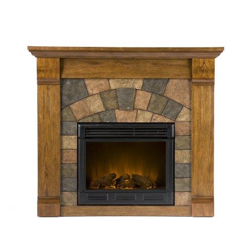 Antique Oak Electric Fireplace Remote Control Adjustable