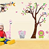 Wall Stickers - Zoo Monkey Lion Elephant Cartoon Wall Stickers for Kids Rooms ZooYoo216 Decorative adesivo de Parede Removable PVC Wall Decal - by PPL21-1 PCs (Color: Multicolor)