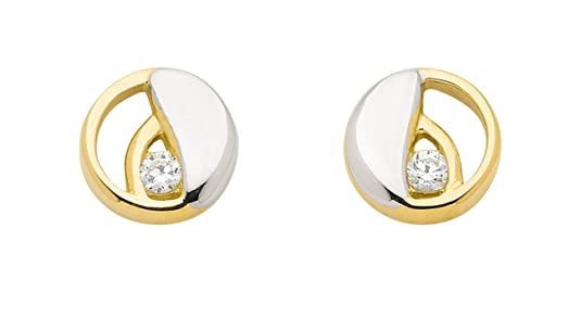 Earrings with Zirconia Made of 333 gold, 8 carat rhodium plated