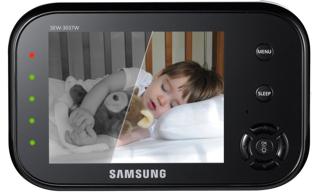 samsung sew 3037w wireless video baby monitor w two pan tilt zoom camera uni. Black Bedroom Furniture Sets. Home Design Ideas