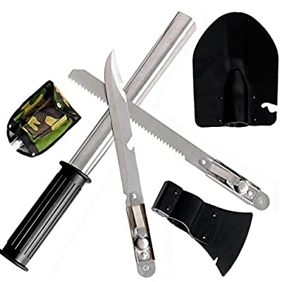 Multi-purpose Emergency Tool Kit Shovel Hatchet Knife Saw Survival Pick with Cover for Camping Hiking from SmartDirect