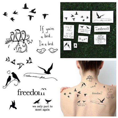 tattify-tatouages-temporaires-citation-oiseau-est-le-mot-set-de-18