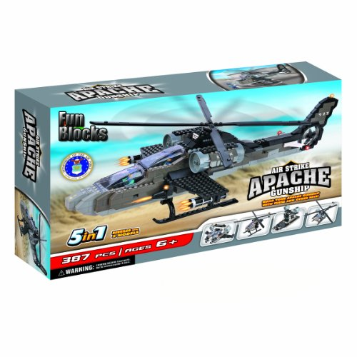 Fun Blocks (Compatible With Lego) Apache Helicopter 5-In-1 Brick Set (387 Pieces)