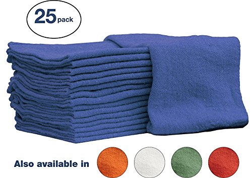 Auto-Mechanic Shop towels, Rags by Nabob Wipers 100% Cotton Commercial Grade Perfect for your Home Garage & Auto (14x14 inches, 25 Pack, (Blue) (Blue Shop Towels compare prices)