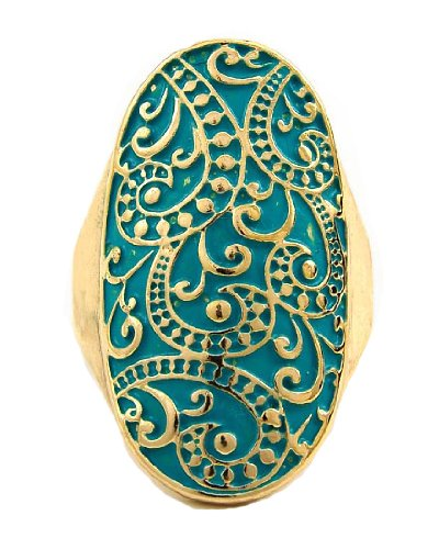 Gold Tone Turquoise Color Coated Metal Stretch Filigree Ring