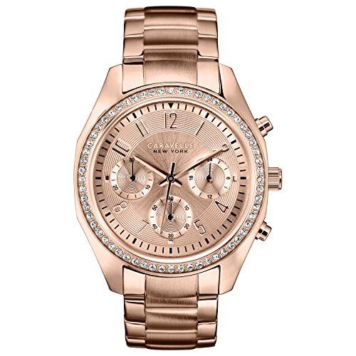 Caravelle New York 44L117 - Reloj  de Cuarzo para Mujer, correa de Acero inoxidable color Oro rosa