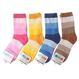 Sdbing 4 Pack Winter Warm Children Stripes Cotton Socks 13-15cm 3-5 Year Old