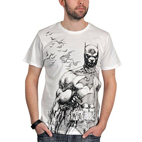 Batman - T-shirt DC Comics con grande stampa frontale di Batman e pipistrelli - Cotone - Bianco - M