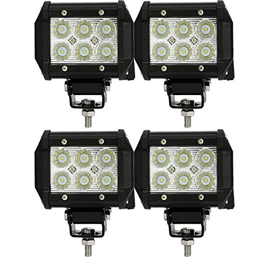 4Pcs 12V 24V Cree 18W Led Work Light 4 Inch Flood Beam Truck Car Atv Suv Jeep Boat 4Wd Atv Military Offroad Auxiliary Driving Fog Lamp