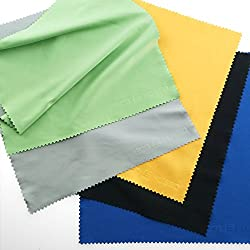 5 LARGE Cleaning Cloths (8in x 8in) for Cell Phones, LCD TV and Laptop Screens, Camera Lenses, Tablets (iPad, Nexus, Galaxy), Silverware, Glasses, Watches and Other Delicate Surfaces (8 inch X 8 inch, Black Grey Green Blue Yellow)
