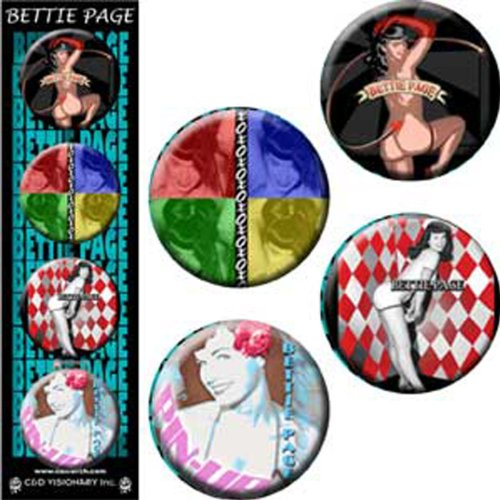 "Licenses Products Bettie Page Blue Assorted Artworks 1.25"" Button Set, 4-Piece"